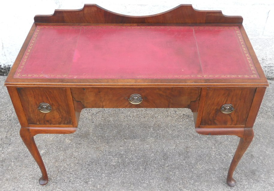 - Antique Queen Anne Style Walnut Kneehole Writing Desk - SOLD